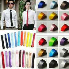 New Casual Slim Plain Mens Solid Skinny Neck Party wedding Tie Necktie 16 Colors