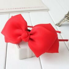 Cuddly Girls Kids Child Plain Satin Bow Headband HairBand Sweet Hair Accessories