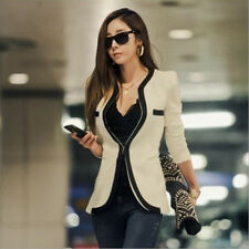 Women New Fashion Slim Fit Casual Suit Blazer Jacket One Button Black White Coat