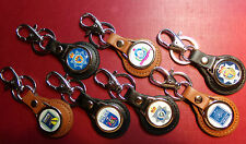 NEW LISTING: BRITISH POLICE LEATHER KEY RINGS IN BLACK/TAN 60 DESIGNS