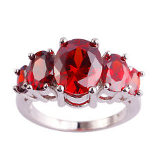 Sweetie Lady's Synthetic Garnet Gift Silver Ring Size 6 7 8 9 10 Free Shipping