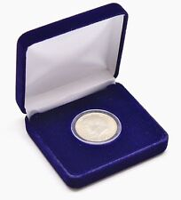 Blue Velvet Display Box & Airtite Coin Capsule Holder for Half Dollar, Quarter