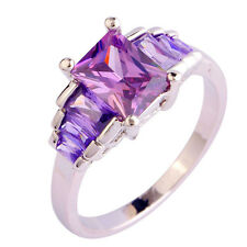 Free Ship Emerald Cut Synthetic Amethyst Charming Silver Ring Size 6 7 8 9 10