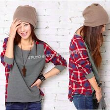 New Long Sleeve plaid Bottoming T-Shirt women Female sweater Loose blouse 7820