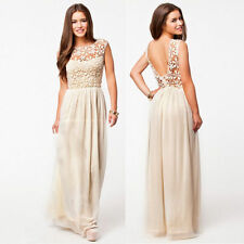 Women Ladies Vintage Lace Long Maxi Evening Formal Cocktail Party Dresses