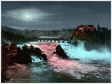5902.River running underneath bridge with train.moon.POSTER.Home Office art