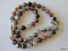 8mm Botswana Agate Necklace Knotted 8 mm Banded Agate Beads Multi Colour Various