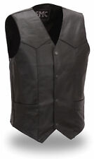 Mens Black Leather Tall Classic 4 Snap Motorcycle Biker Vest