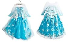 Blue Girls Snow Dresses Disney Frozen Princess Elsa Costumes child Kits Dress