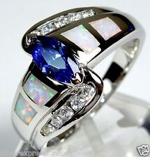Tanzanite & White Fire Opal Inlay 925 Sterling Silver Solitaire Ring Sz 6,7,8,9