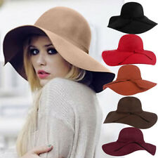 New Vintage Sale Women Lady Wide Brim Wool Felt Bowler Fedora Hat Floppy Cloche