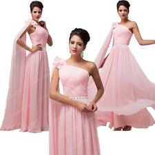 Pink Shoulder Chiffon Homecoming new Bridesmaid Long Evening Formal Party Dress