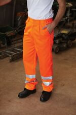 HI VIS TROUSERS HIGH VISIBILITY ORANGE RAIL SPEC SAFETY WORK TROUSER FREE P&P
