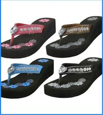 Womens Heart Crystal Rhinestone Bling Wedge Thong Flip Flop Sandals Black New