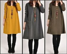 2014 new fashion maternity autumn long sleeve 0-neck dress for pregnant women