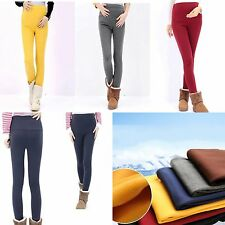 Maternity  Womens Casual Pants Leggings Belly Elastic Waist Warm Thick Pants S