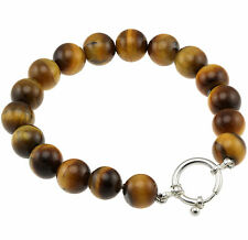 925 Sterling Silver Spring Ring Clasp Bracelet / Natural 10mm Tigers Eye 7.75""