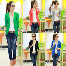 Women Irregular Hem Long Sleeve Cardigan Knit Sweater Candy Colors Tops Red