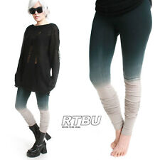 Mega Long Slouch Gathered Punk Tie Dip Dye Grey Teal Ombre Yoga Legging Tights