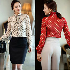 Womens Business Long Sleeve Dot Sheer Chiffon Button Down Shirt Tops Blouse S-XL