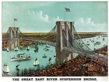 5968.The great East River suspension bridge.new york.POSTER.Home Office art