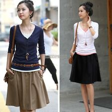 Women Casual Cotton Blend pleated Retro Short A-line Dress Skirt has Pocket 4-12
