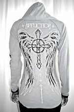 IR AFFLICTION women's Hooded Fleur-de-Lis Wings EMBELLISHED HENLEY shirt XS/M/L