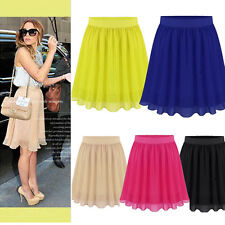 NEW Summer Europeanstyle Women's Skirt Pure Color All-Match Chiffon Midi Skirts
