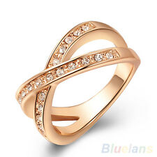 Women's Cute Austrian Crystal 9K Rose Gold Plated Rhinestone Jewelry X Ring