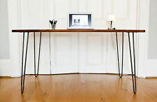 Handmade midcentury modern iroko desk with raw iron hairpin legs. danish