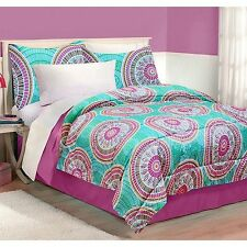 NEW BED A IN BAG TEAL BLUE PURPLE Medallion COMFORTER SET Twin TXL Full Queen