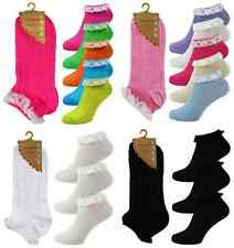 Girls/Ladies Neon Frilly Lace Trim Ankle Trainer Liner Socks Fancy DressSize 4-8