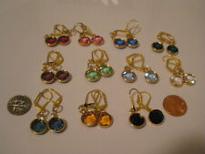 Earrings Circles Large 8 Colors Leverback Gold Plate Made With Swarovski Crystal