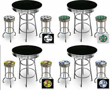 FC118 SPORTS THEMED  CHROME METAL FINISH BLACK BAR TABLE SET W 2 SWIVEL STOOLS