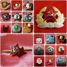 18 Authentic Soviet Political Pin Badges & 2 Military Hat Uniform Cockades