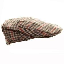 OCTAVE® Mens Wool Mix Tweed Country Style Flat Cap - Orange Check