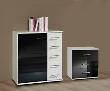 Qmax 'Maria' Range. White & Gloss Black. German Made Bedroom Furniture.