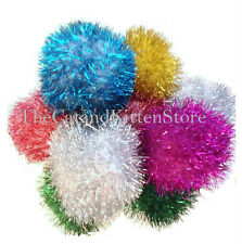 "3"" Sparkle Pom Pom Balls Cat & Kitten Ball Toys That Glitter 5, 10 or 20 count"