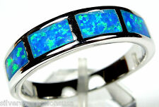 Blue Fire Opal Inlay Solid 925 Sterling Silver Men's, Woman Band Ring All Sizes