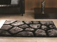 Verge Brook Black Silver Hand Carved Thick 3D Effect Shaggy Rug in various sizes