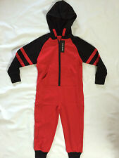 New ex River Island Onesie Boys Black and Red Hooded Zip 3,4,5,6,7,8,9,10,11,12