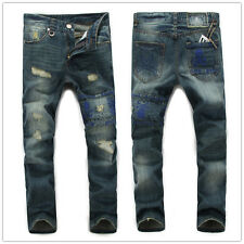 New Men`s Skull Patched Holey Style vintage Trousers Casual Stylish Jeans Pants