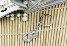 Alphabet Initial Letter Keyring Phone Chain Diamante Shiny Silver Crystal HUS