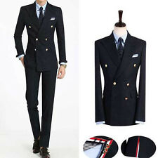 NAVY BLUE Double Breasted suit UK slim fit men s prom wedding tuxedo suits US