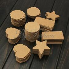 100pcs Blank Brown Kraft Paper Gift Tags Wedding Scallop Price Label Luggage