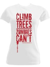 New Public Service Message No.12 Climb Trees Zombies Can't White Ladies T-Shirt