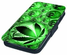 Cannabis Leaf Design Printed Faux Leather Flip Phone Cover Case