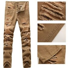 (mod.# 0613) NWT Men Italy Fashion Runway Destroyed Brown Jean W28-38