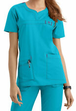 Wink Medical Scrub Wonder Flex Aqua Curved Notch-Neck Top Sz XS-XXL NWT