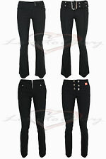 LADIES GIRLS GOOD QUALITY STRETCH BLACK BOOTLEG SKINNY HIPSTER TROUSERS.